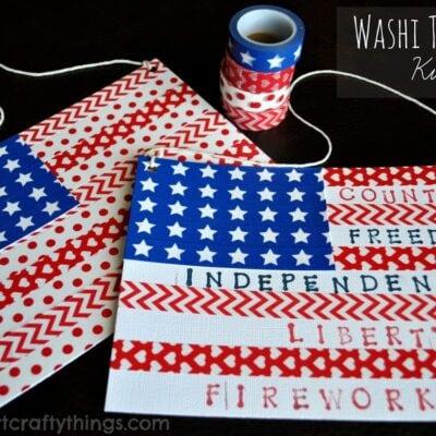 Washi Tape Flag Kids Craft
