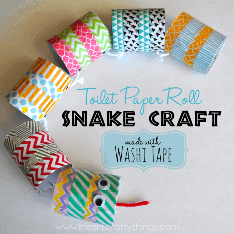 Toilet paper roll snake craft made with washi tape i for Things to make arts and crafts