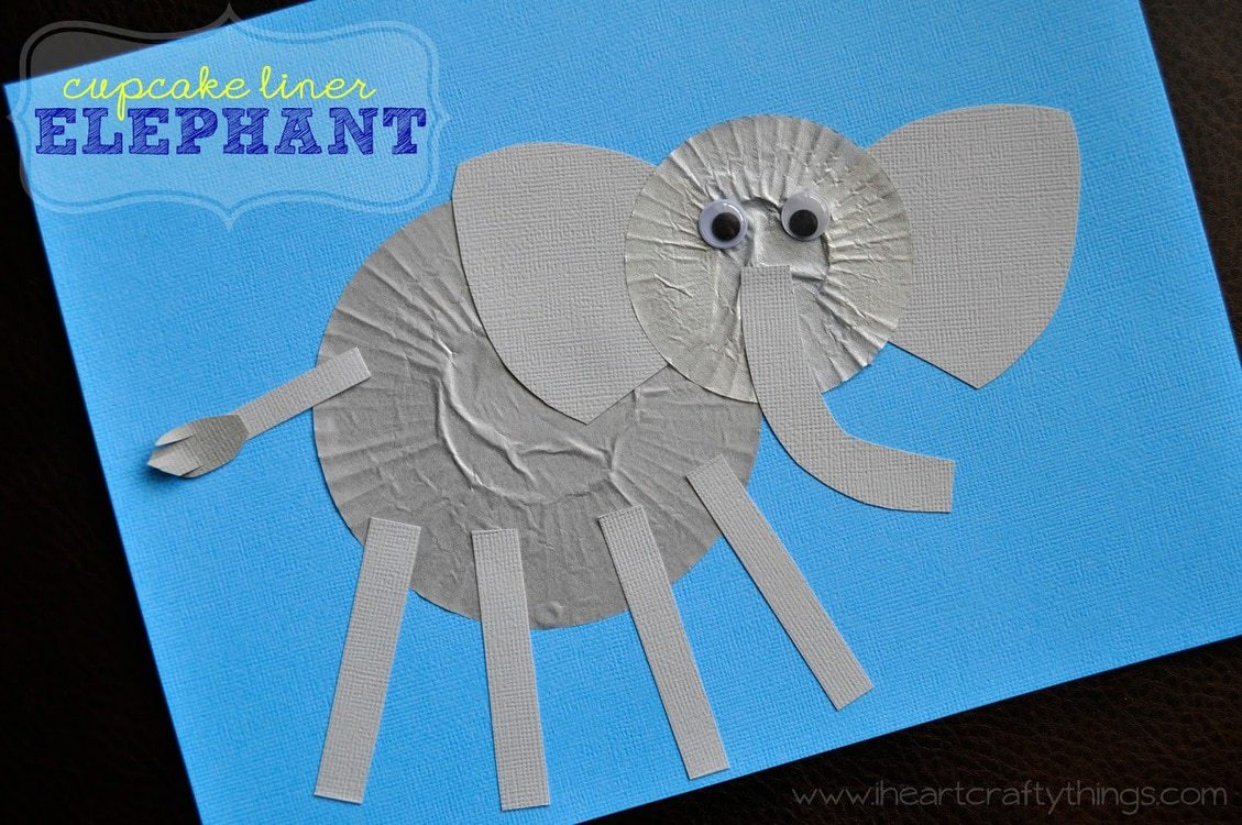 ocean animal cupcake liner crafts cupcake liner elephant craft i crafty things 6973