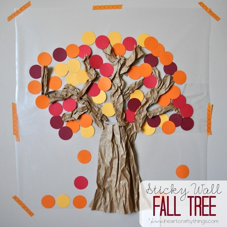 contact paper sticky wall fall tree | i heart crafty things