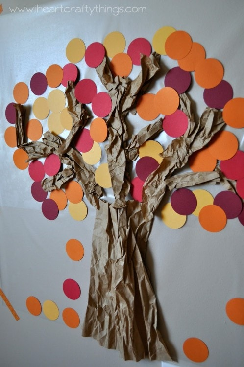 Contact paper sticky wall fall tree i heart crafty things for Sticky paper for crafts