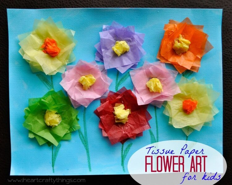 Tissue Paper Flower Art Project I Heart Crafty Things