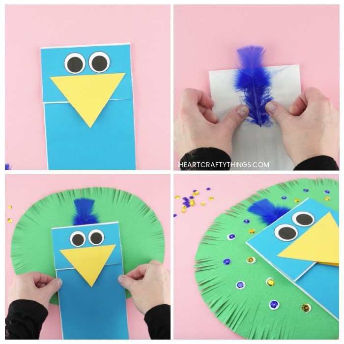 Four image collage showing how to glue the eyes on the puppet, how to tape the blue feather on the back of the paper lunch bag, how to glue the paper bag to the peacock feathers, and how to decorate the feathers with blue and gold sequins.