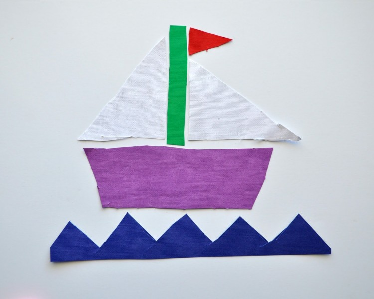 Triangle ship craft and shape matching game i heart for Things to make out of construction paper