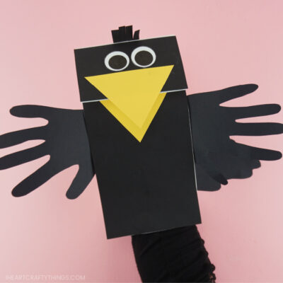 Paper Bag Crow Puppet Craft