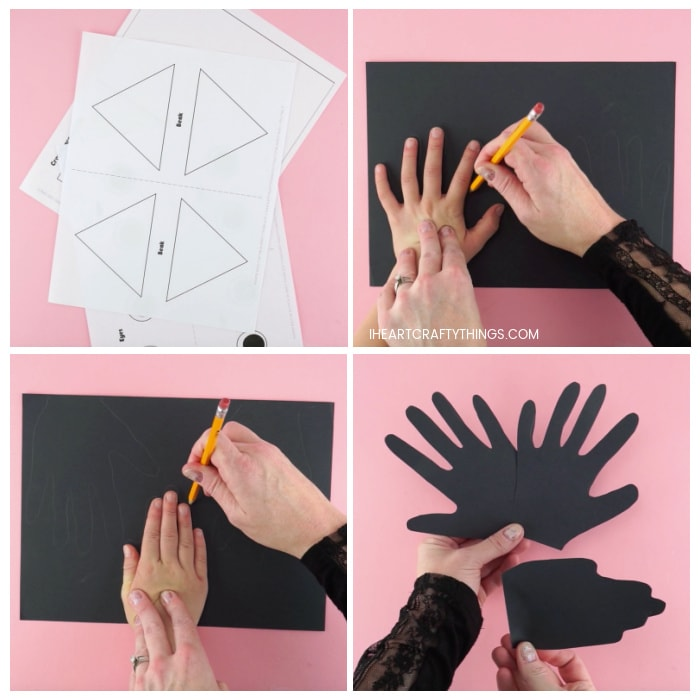 Four image collage showing printed out crow puppet template, an adult tracing a child's handprints on a black piece of construction paper and an adult holding the cut out handprints.