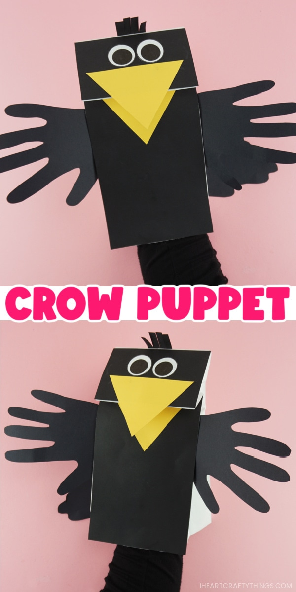 "Two image vertical collage showing adult with hand inside the paper bag puppet showing the beak opening and closing and the words ""Crow Puppet"" in the center separating the two images."