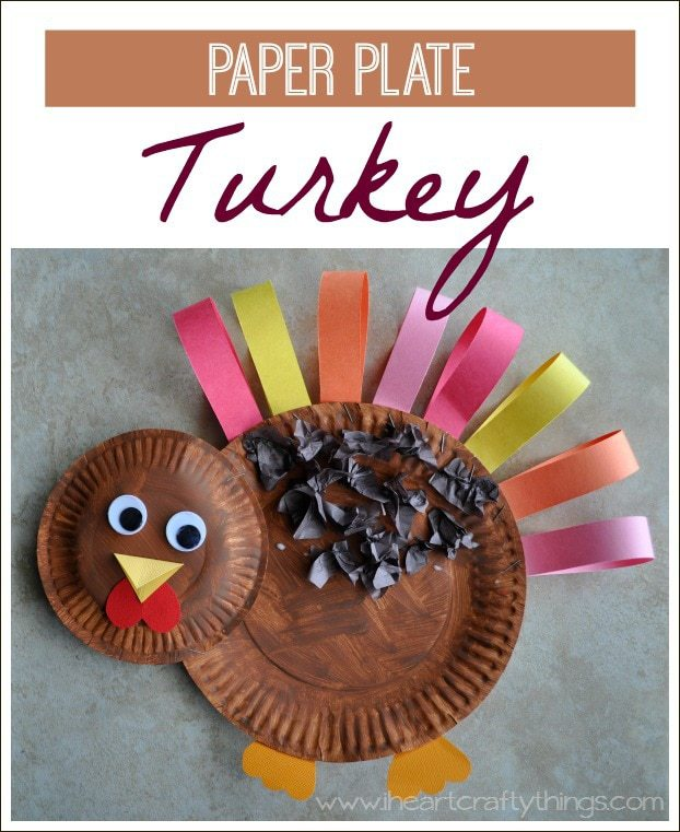 ... already made a trip to the library this week and picked up some of our favorite Thanksgiving books and today we made this adorable Paper Plate Turkey. & Paper Plate Turkey Craft | I Heart Crafty Things