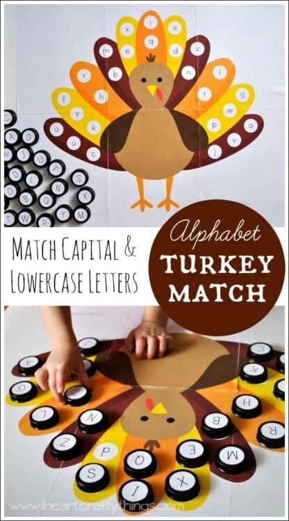 Alphabet Turkey Matching Game
