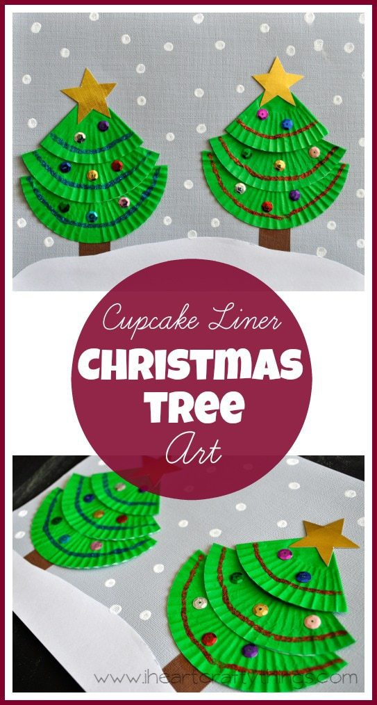 Cupcake liner christmas tree art i heart crafty things for Christmas tree art and craft