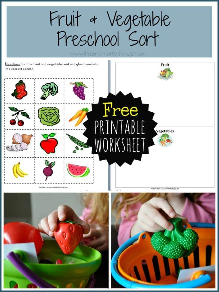 i am sharing two ways we worked on differentiating between our fruits and vegetables by sorting them and i am including a free printable worksheet for you