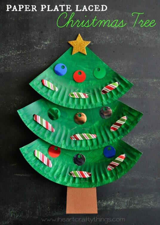& Paper Plate Christmas Tree Craft | I Heart Crafty Things
