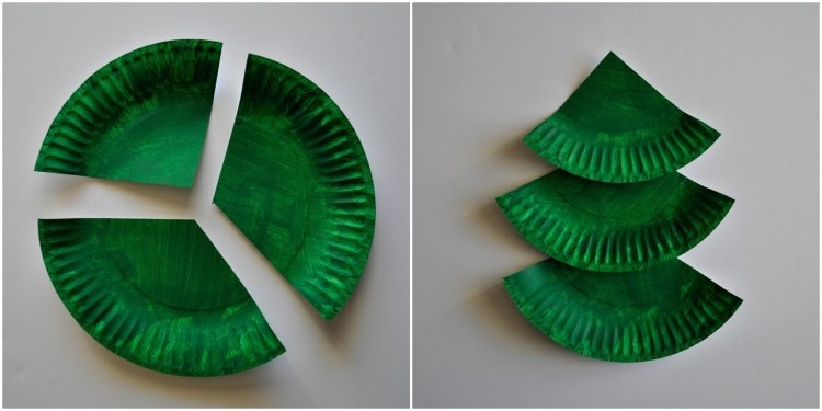 Use your hole punch to punch six (6) holes across the bottom of each paper plate section. & Paper Plate Christmas Tree Craft | I Heart Crafty Things