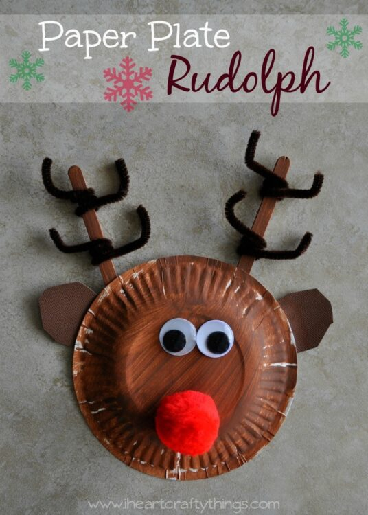 We couldn\u0027t resist making a fun Rudolph Craft for this holiday season. Using a paper plate makes this one super simple. & Paper Plate Rudolph Reindeer | I Heart Crafty Things