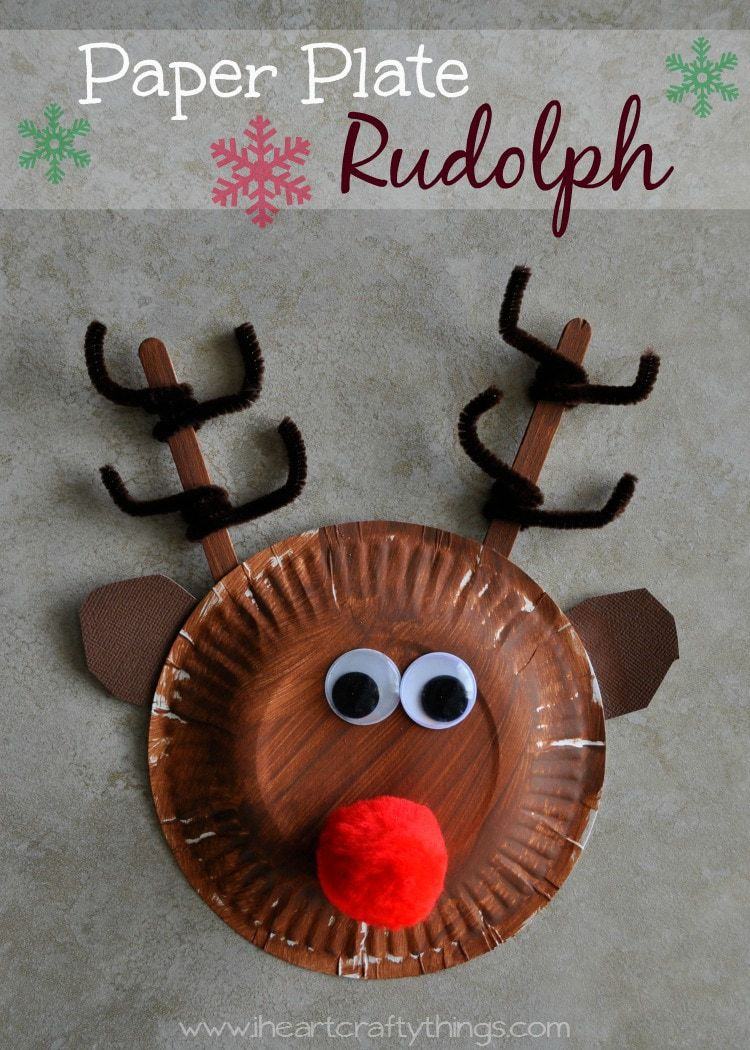 & Paper Plate Rudolph Reindeer | I Heart Crafty Things
