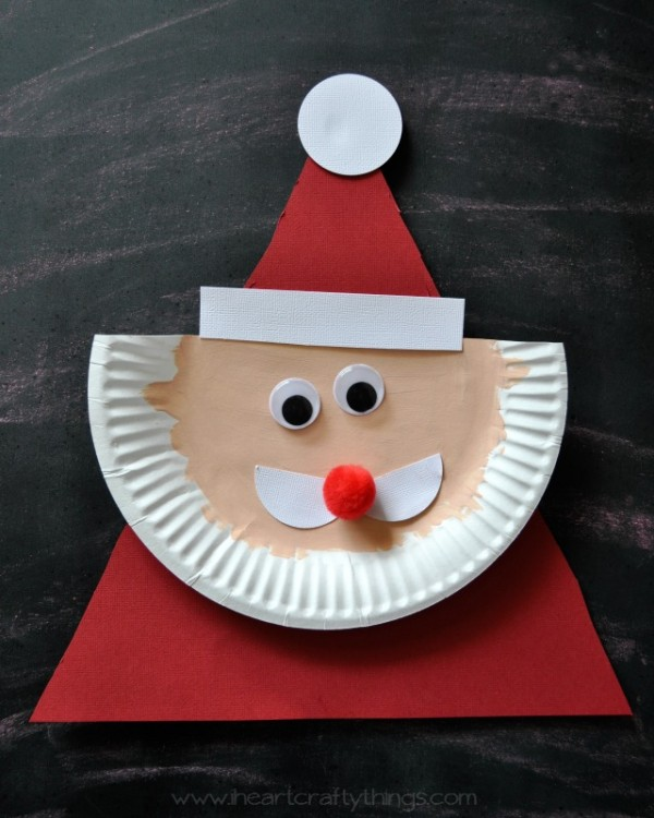 paper plate santa hats craft paper plate santa claus i crafty things 7024