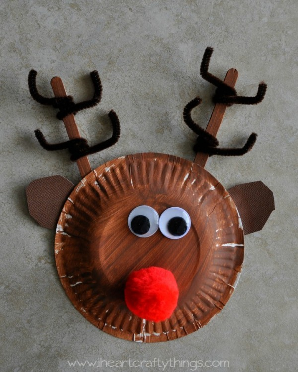 Close up image of a child's paper plate reindeer craft.