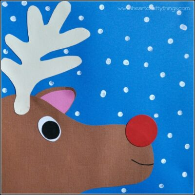 Grab our free template to make this Rudolph paper craft for kids this holiday season. Fun Christmas craft for kids and Reindeer Craft for kids.