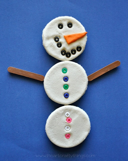 Snowman salt dough magnets i heart crafty things for Small magnets for crafts