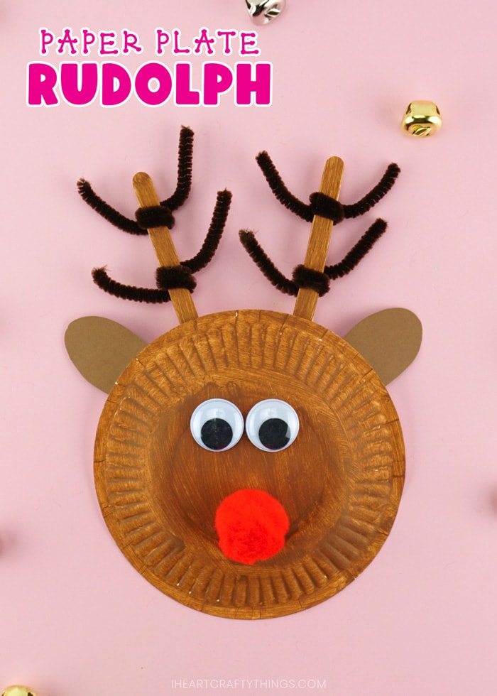 "Vertical close up image of finished paper plate reindeer with the text ""paper plate rudolph"" in the top left corner."