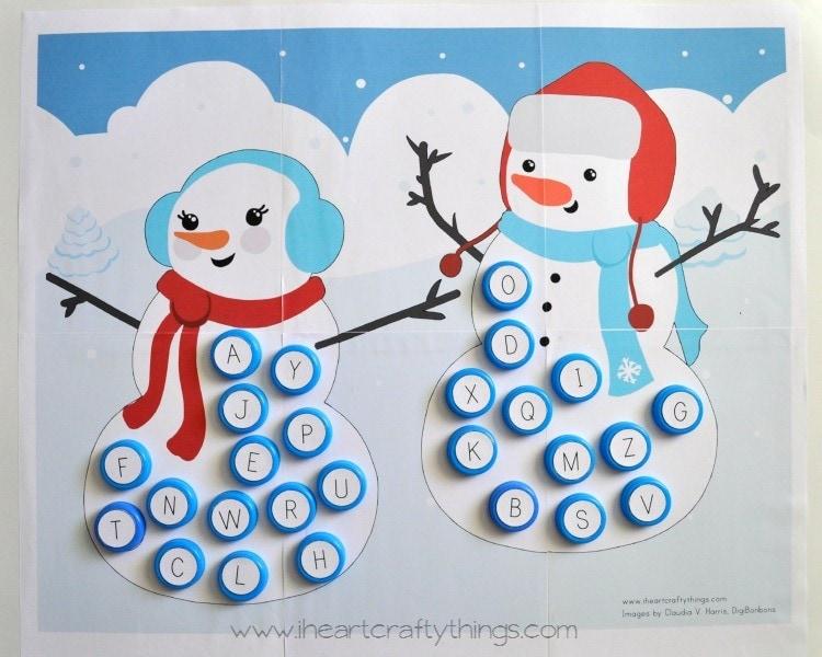 Alphabet Snowman Matching Game