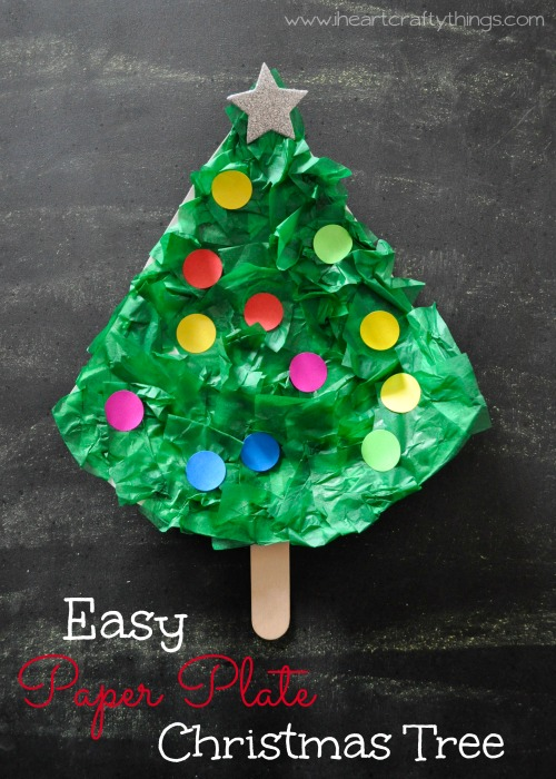 easy paper plate christmas tree craft i heart crafty things. Black Bedroom Furniture Sets. Home Design Ideas