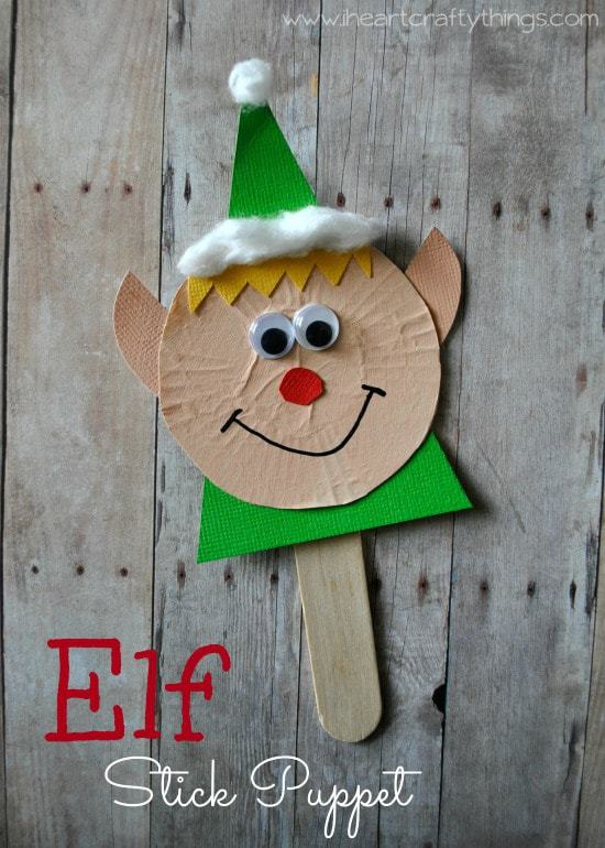 Elf stick puppet craft i heart crafty things for Elf crafts for kids