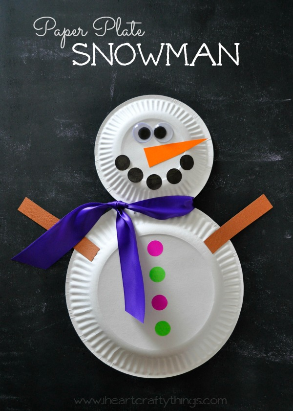 Paper Plate Snowman Craft I Heart Crafty Things