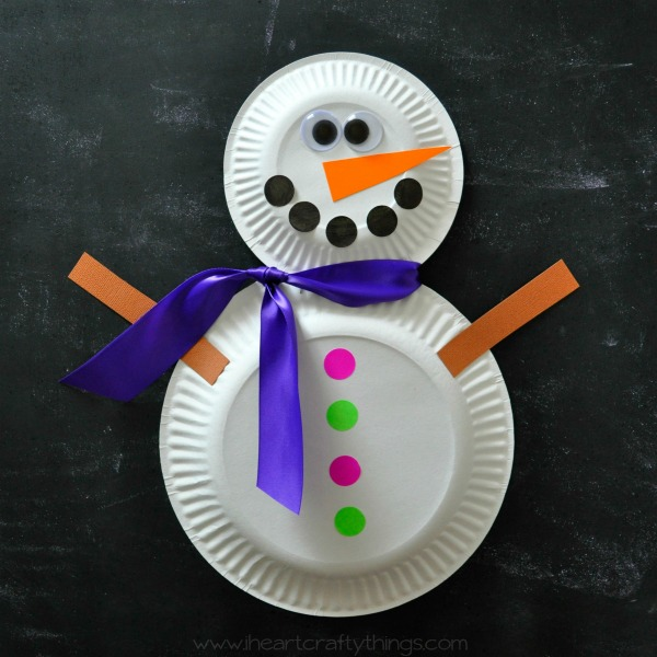 & Paper Plate Snowman Craft | I Heart Crafty Things