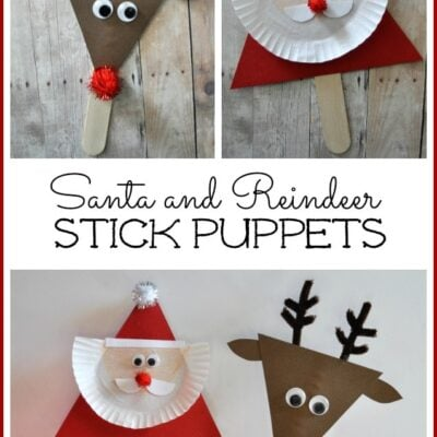 Santa and Reindeer Stick Puppets