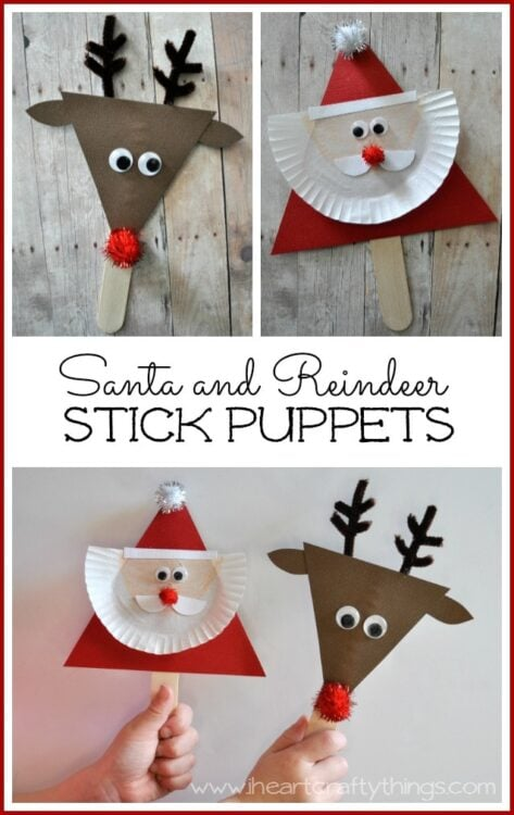 9e107faff Santa and Reindeer Stick Puppets