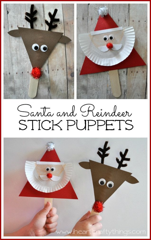 Santa And Reindeer Stick Puppets I Heart Crafty Things