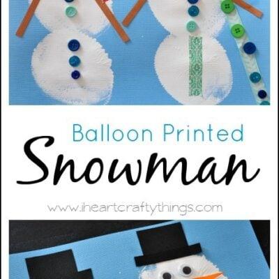 Balloon Printed Snowman Craft