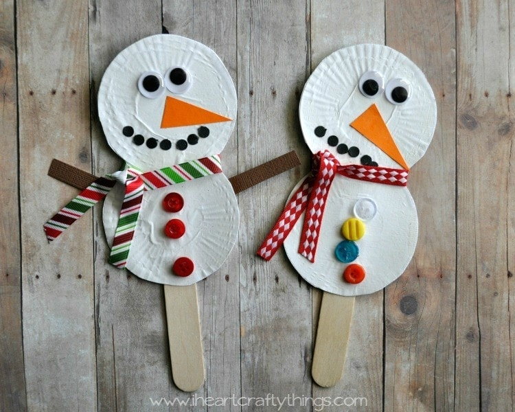 Snowman stick puppets i heart crafty things for How to make winter crafts