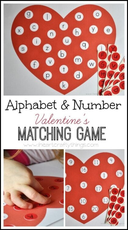 image regarding Alphabet Games Printable called Alphabet and Variety Valentines Matching Video game (Free of charge Printable)