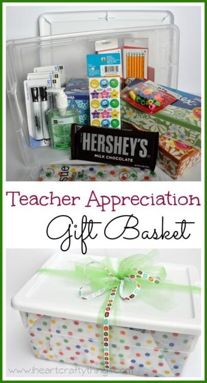 ... supplies were regularly used and what was needed in their classrooms I set out on a mission at Dollar General to put together a teacher gift basket ...  sc 1 st  I Heart Crafty Things & Teacher Appreciation Gift Basket