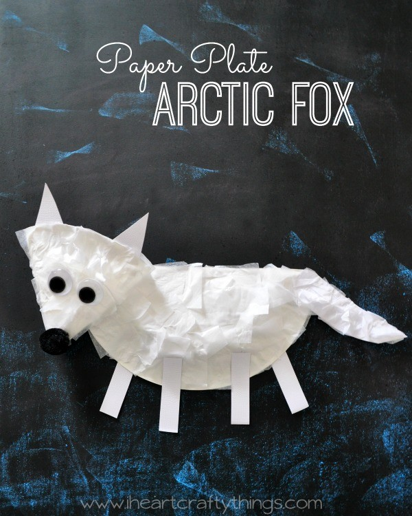 paper plate arctic fox craft for kids i heart crafty things
