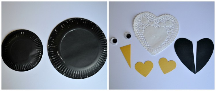While your paper plates are drying get your other pieces ready. Cut two hearts out of your yellow cardstock paper with your heart punch (or just cut them ... & Paper Plate Penguin Craft for Kids | I Heart Crafty Things