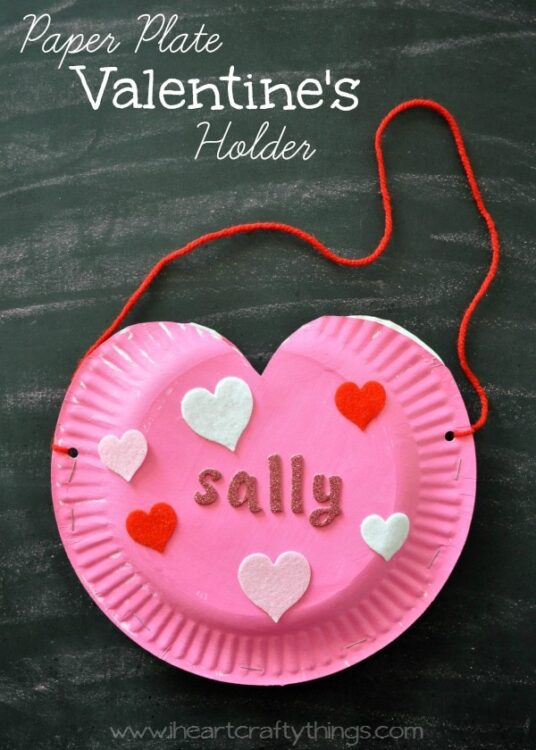 Paper plate heart valentine 39 s holder i heart crafty things for Valentine art and crafts for preschool