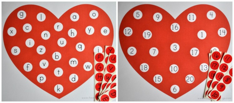 Alphabet and Number Valentines Matching Game Free Printable  I