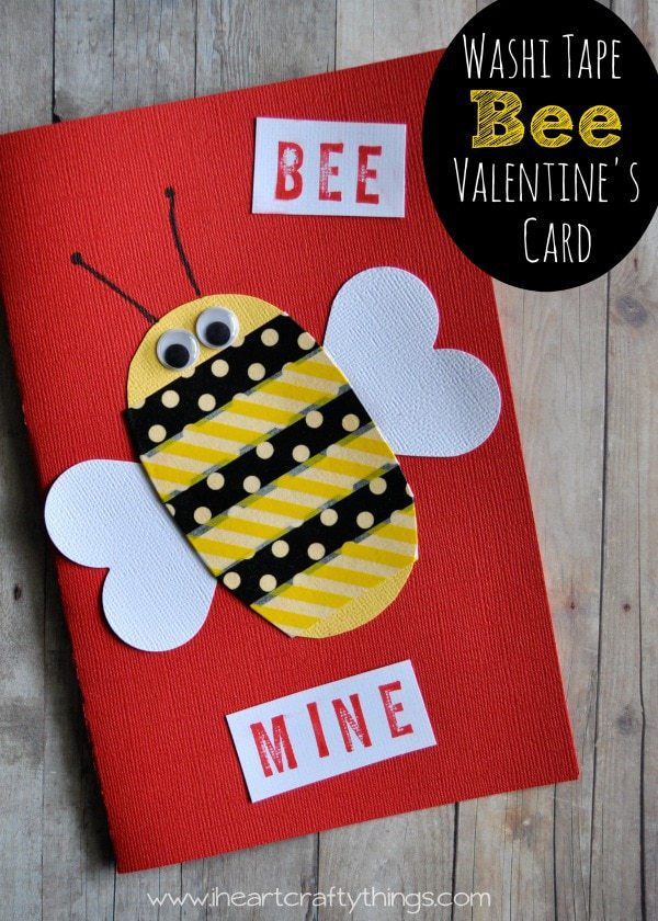 Washi Tape Bee Mine Valentines Day Card – Bee Mine Valentine Card