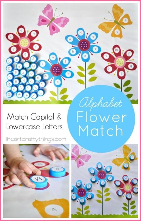 image relating to Alphabet Matching Game Printable identified as Flower Alphabet Matching No cost Printable
