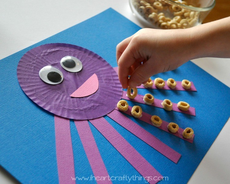 Cupcake liner octopus kids craft i heart crafty things for Octopus craft for preschool