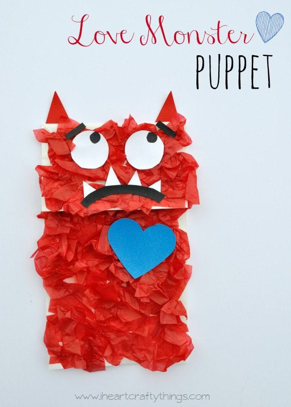 Love Monster Paper Bag Puppet Kids Craft I Heart Crafty Things