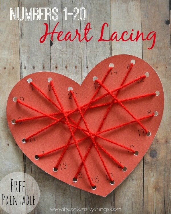 Number Heart Lacing Preschool Activity | I Heart Crafty Things