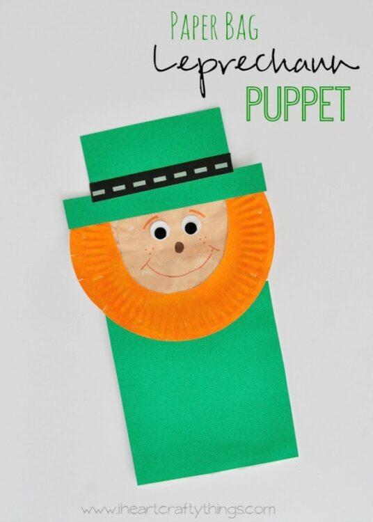 Paper Bag Leprechaun Puppet Kids Craft I Heart Crafty Things