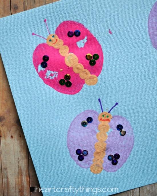 Pillangó nyomdázással ovisoknak