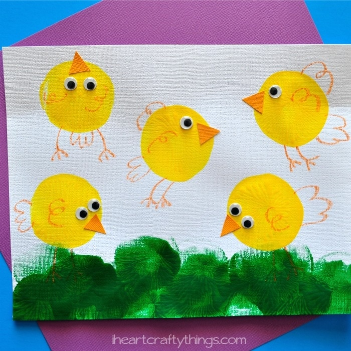 balloon printed chicks kids craft - Painting Pics For Kids