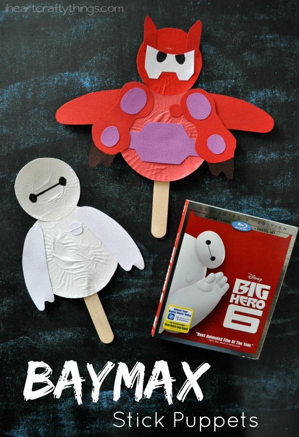Disney Big Hero 6 Movie Night With Baymax Stick Puppet Kids Craft