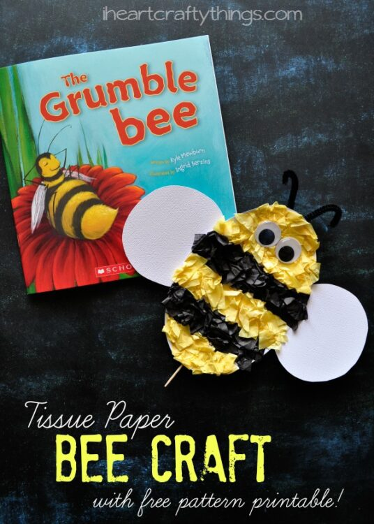 photo about Printable Tissue Paper called Tissue Paper Bee Youngsters Craft (with No cost Routine Printable)
